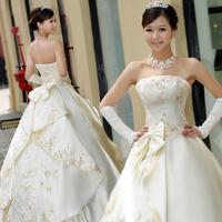 2014 spring wedding dress tube top bandage thick lace princess bow wedding bride