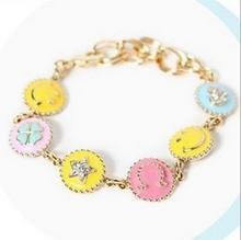 2014 New Bijouterie Bracelet Walnut Beautiful Candy Color Summer Paint Smiley Bracelet Honey Bracelets For Women