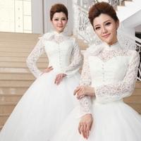 Quality white 2014 long-sleeve lace high waist wedding dress formal dress fashion maternity plus size wedding dress mm female