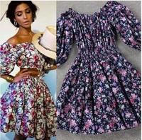 2014 Summer Fashion Cute Runway Brand Cotton Short Sleeve &  Above Knee Blue Flowers Print Dresses