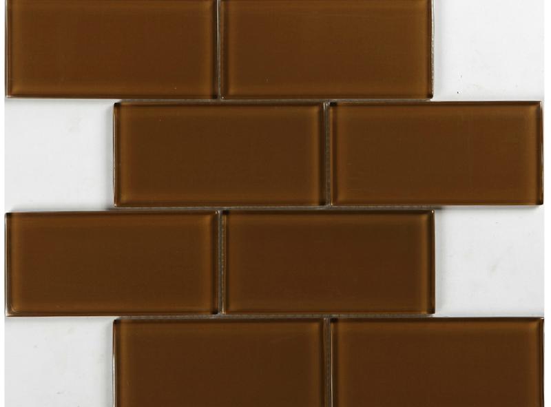 subway glass backsplash tile kitchen bath wall brown tans glass tiles