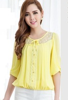 Women Shirt Blouses Spring 2014 half Sleeve Chiffon Lace Patchwork Blouse Plus Size Yellow Elegant Blouses SS14B020