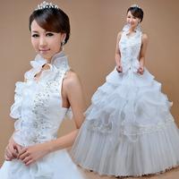2014 new arrival sweet princess elegant laciness halter-neck wedding qi hunsha