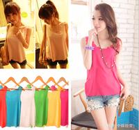 new 2014  Women fashion Chiffon tank Tops Vest Shirts solid candy 12 color camis chiffon loose top Shirt