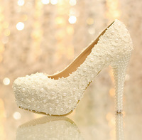 Sweet white flower lace platform high-heeled shoes pearl wedding shoes bride dress shoes single shoes