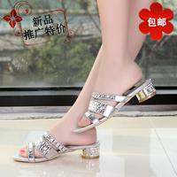 New 2014 women rhinestone sandals low-heeled plus size rhinestone sheepskin female sandals fashion crystal women slippers