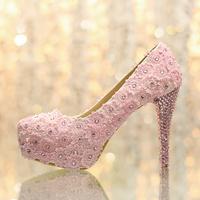 Wedding shoes rhinestone shoes ultra high heels platform shoes women's pink lace flower shoes single shoes bridal shoes