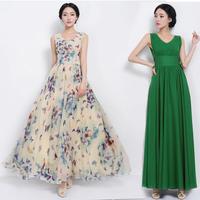 Dresses Sale Time-limited Natural Chiffon Ankle-length O-neck 2014 Summer Butterfly Flower Slim Waist Belt Color One-piece Dress