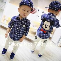 (5 pieces/lot) Children boy Mickey Mouse long sleeve shirts boy mickey dot long sleeve shirts  boy mickey dot shirt
