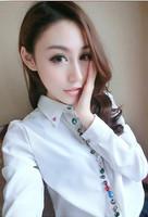 2014 fashion turn-down collar multicolour gem handmade beading decoration women long-sleeve chiffon shirt /4,free shipping