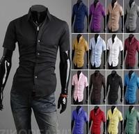 2014 HOT Men's casual short-sleeved shirt Slim summer