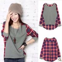 2014 spring women's o-neck street plaid loose plus size long-sleeve T-shirt women's basic shirt
