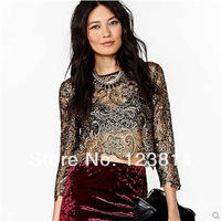 Casual Fashion Women Bronzed Sexy T-Shirt Fashion Royal Thai Embroidery O-Neck 3/4 Sleeve Straight Light Lace Hollow-Out D313