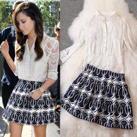 2014 New Spring Summer European American Style Women Brand Fashion Clothing Set Sexy Hollow out Lace Tops + Print Skirt + Vest