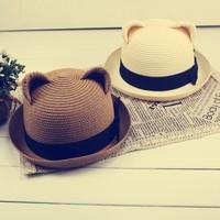 2013 cat ears hat strawhat sunbonnet straw hat women's summer hat multicolor J-030