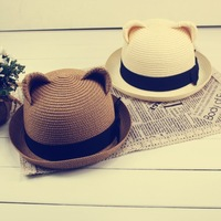 2013 cat ears hat strawhat sunbonnet straw hat women's summer hat multicolor J-030