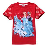 Tops Frozen Princess Girls Fashion Shirt Print 3 colors Tees Anna And Elsa Short Sleeve Children T-shirts Free Shipping DA121A