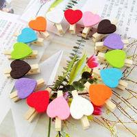 wholesale 50pcs/lot colour mixture heart shape Lovely wooden clip message clip photo clip bookamarks