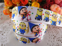 "2014 new arrival 7/8"" (22mm) despicable me printed grosgrain ribbon cartoon ribbons hair accessories 10 yards WQ2014040435"