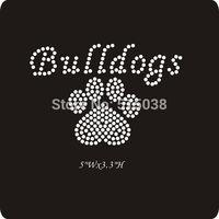 DHL Free shipping 50pcs/Lot Bulldogs pawprint wholesale rhinestone transfer