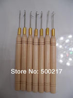 Wholesale, 100pcs/lot, Wooden Handle Hook Needle, DIY Hair Extension Tool,  DHL Free Shipping