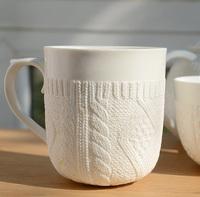 Free shipping hot selling knitted sweater white mug, fine bone china ceramic coffee mug,  zakka porcelain cup