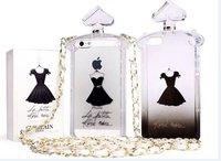 2014 Guerlain perfume bottle little black dress Brand Leather Lanyard Chain silicone case For iphone 4 4s 5 5s Handbag TPU Cover