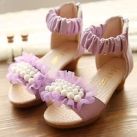 2014 New Lace 2 Row Pearl Decorated Children Sandals Summer Footwear Princess Girl Kids Heeled Shoes Sneakers Purple Pink Red