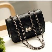 Free shipping 2014black plaid chain fashion Europe and America one shoulder cross-body women's handbag small bag female clutch