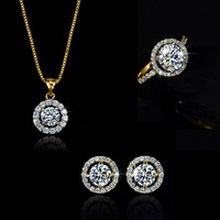 Necklace earring ring,Wholesale 18K Gold White Gold Plated Austrian Crystal Fashion Jewelry Sets 6G25