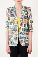 2014 new spring autumn  topshop fashion print stamps patchwork slim suit blazer outerwear