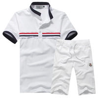 2014 turn-down collar short-sleeve summer famous brand men's casual sportsuit