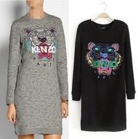 2014 autumn winter tiger embroidery thickening fleece cotton women dress long design sweatshirt one-piece dress female
