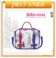 2014 new arrival senior PU material blue color handbag female PU justar shoulder bag from shenzhen