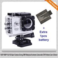 Free shipping!!Original SJ4000 Diving 30M Helmet Cam Camcorder DVR HD Sport Action GoPro Style Cam + Extra 1pcs battery