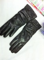 winter russian Fashion cutout women's suede gloves thermal leather gloves repair female genuine leather gloves