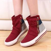 Female fashion high help rivet side zipper canvas shoes. Free shipping