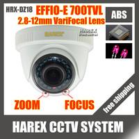 "1/3"" Sony Effio-e 700TVL 960H 811+4140 18pcs blue IR LEDS varifocal 2.8-12mm indoor Plastic Dome zoom CCTV Camera. Free shipping"