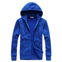 2014 spring and autumn brief fashion long-sleeve with a hood cardigan lovers sweatshirt blue