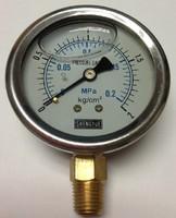 Stainless steel Manometer Pressure gauge Meter 0-0.2MPa (0-2kg/cm2) 60mm Dia Glycerine filled
