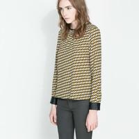 2014 spring new diamond lattice PU leather round neck long sleeved women shirt ; camisas femininas blouse ; roupas femininas