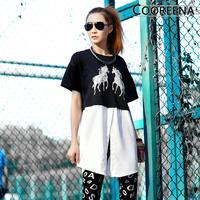 European style Women t thirt new 2014 spring O-neck Long design Short-sleeve Summer unicorn Patchwork Chiffon t-shirt women