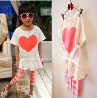 (5 pcs/lot)wholesale 2014 New Child love female short-sleeve plaid legging 2014 spring new arrival