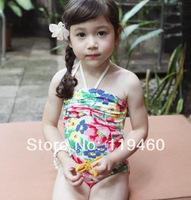 2014 new swimsuit beautiful flowers print Halter one-piece swimsuit swimwears bathing suitFree Shipping