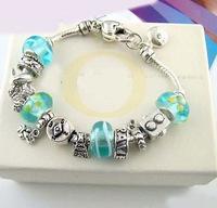 Drop Shipping Eiffel Tower Charm Chamilia Bracelet 925 Tibetan Silver Murano Glass For Women Fashion European Style Jewelry
