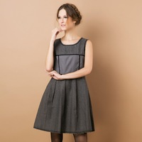 Autumn and winter elegant slim expansion bottom grey wool woolen sleeveless vest one-piece dress skirt