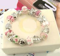 Chamilia Bracelet ,925 silver plated fashion women bracelets wholesale, Fine Chamilia beads charm bracelet Silver Murano Glass