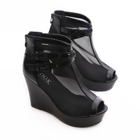 2014 open toe gladiator net fabric sandals buckle rivet sexy female wedges platform sandals