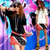 harajuku shirt Punk Summer women T-shirt short-sleeve dress Medium-long Punk rock hip hop sports Casual Harajuku sportwear