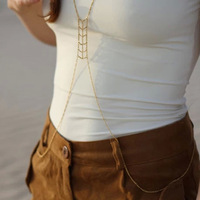 Mother's Day Gift Gold Plated Fine Alloy Body Chain /Necklace//Waist Chain Free Shipping JZ040510